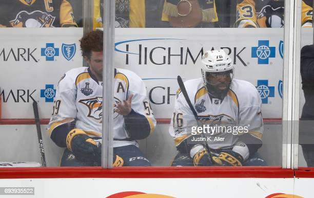 K Subban of the Nashville Predators and Roman Josi of the Nashville Predators sit in the penalty box in the third period against the Pittsburgh...
