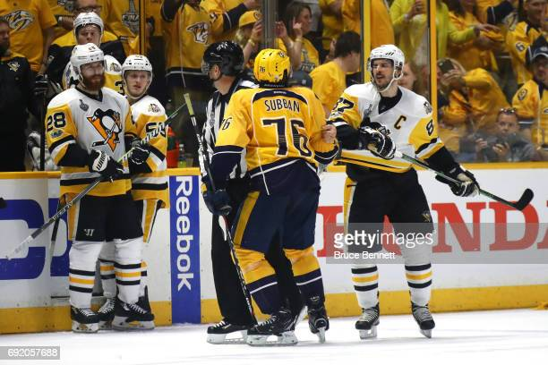 K Subban of the Nashville Predators and Sidney Crosby of the Pittsburgh Penguins exchange words after the Predators defeated the Penguins 51 in Game...