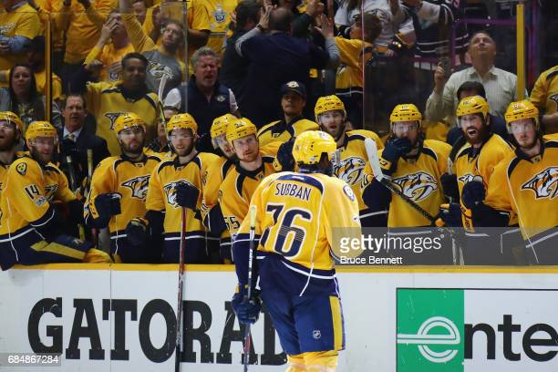 K Subban of the Nashville Predators celebrates with teammates after scoring a goal during the third period against John Gibson of the Anaheim Ducks...