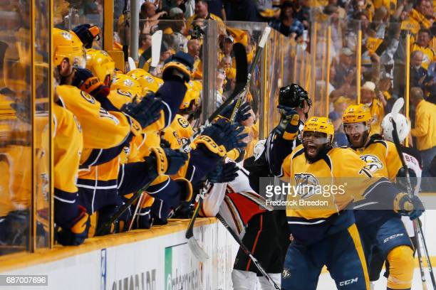 K Subban of the Nashville Predators celebrates with teammates after they scored during the third period against the Anaheim Ducks in Game Six of the...