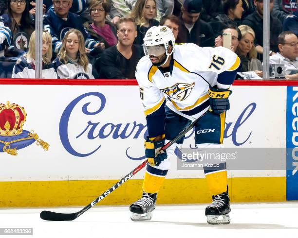 K Subban of the Nashville Predators gets set during a first period faceoff against the Winnipeg Jets at the MTS Centre on April 8 2017 in Winnipeg...