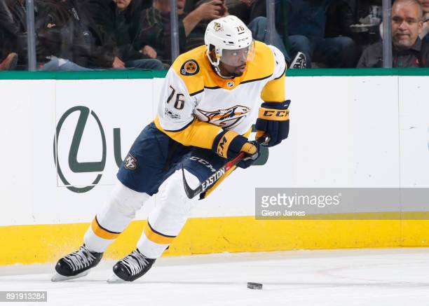 K Subban of the Nashville Predators handles the puck against the Dallas Stars at the American Airlines Center on December 5 2017 in Dallas Texas