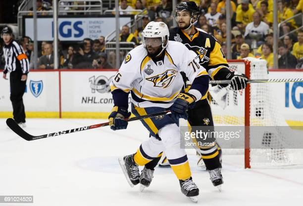 K Subban of the Nashville Predators is defended by Chris Kunitz of the Pittsburgh PenguChris Kunitz of the Pittsburgh Penguinsduring the second...