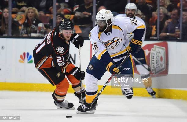 K Subban of the Nashville Predators plays the puck away from Chris Wagner of the Anaheim Ducks in the first period of Game One of the Western...