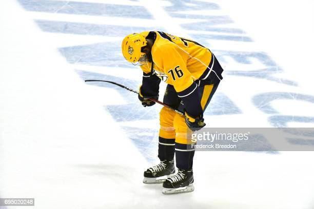 K Subban of the Nashville Predators reacts after falling to the Pittsburgh Penguins 20 in Game Six of the 2017 NHL Stanley Cup Final at the...