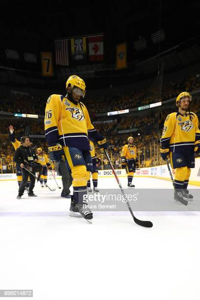 K Subban of the Nashville Predators reacts after they fell to the Pittsburgh Penguins 20 in Game Six of the 2017 NHL Stanley Cup Final at the...