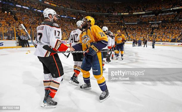 K Subban of the Nashville Predators shakes hands with Ryan Kesler of the Anaheim Ducks after a 63 series win in Game Six of the Western Conference...