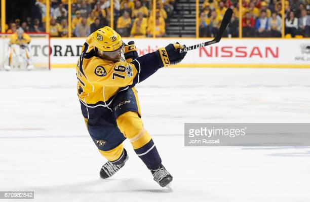 K Subban of the Nashville Predators shoots the puck against the Chicago Blackhawks in Game Three of the Western Conference First Round during the...