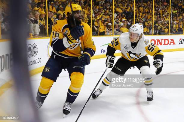 K Subban of the Nashville Predators skates against Jake Guentzel of the Pittsburgh Penguins during the first period in Game Six of the 2017 NHL...