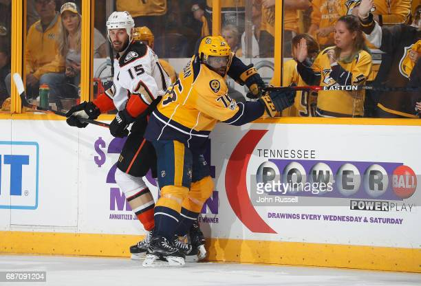 K Subban of the Nashville Predators skates against Ryan Getzlaf of the Anaheim Ducks in Game Three of the Western Conference Final during the 2017...