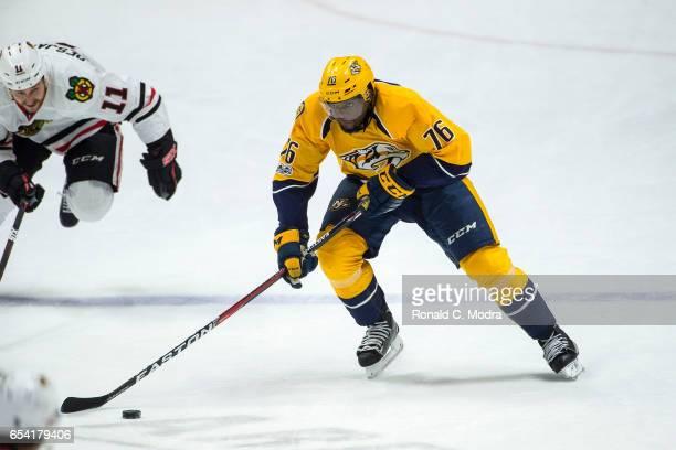 K Subban of the Nashville Predators skates against the Chicago Blackhawks during an NHL game at Bridgestone Arena on March 4 2017 in Nashville...