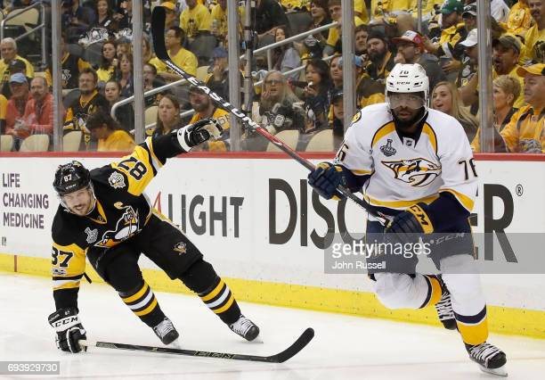 K Subban of the Nashville Predators skates past Sidney Crosby of the Pittsburgh Penguins during the second period of Game Five of the 2017 NHL...