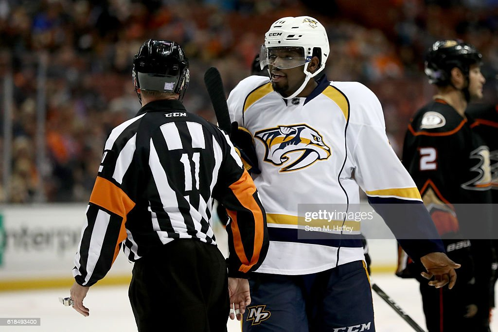P.K. Subban #76 of the Nashville Predators talks with referee Kelly Sutherland #11 during the third period of a game at Honda Center on October 26, 2016 in Anaheim, California.