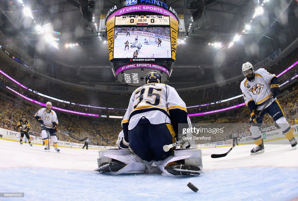 P.K. Subban #76 of the Nashville Predators watches as the puck gets past teammate goaltender Pekka Rinne #35 on a shot by Justin Schultz #4 of the Pittsburgh Penguins (not pictured) during the first period of Game Five of the 2017 NHL Stanley Cup Final at PPG Paints Arena on June 8, 2017 in Pittsburgh, Pennslyvannia.