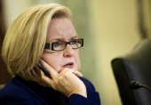 Subcommittee chairman Senator Claire McCaskill speaks during a hearing of the Senate Homeland Security and Governmental Affairs Committee's...