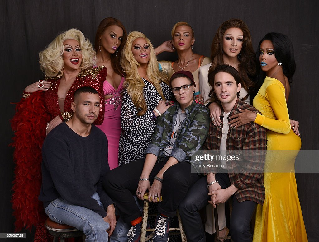 Subject Alberic Prados, director Antonio Santini, subjects Ivana Fred, Rochelle Mon Che' ri, Paxx Doll, Sandy Alvarado, director Dan Sickles, subjects April Carrion and Queen Bee Ho from 'Mala Mala' pose for the Tribeca Film Festival Getty Images Studio on April 21, 2014 in New York City.