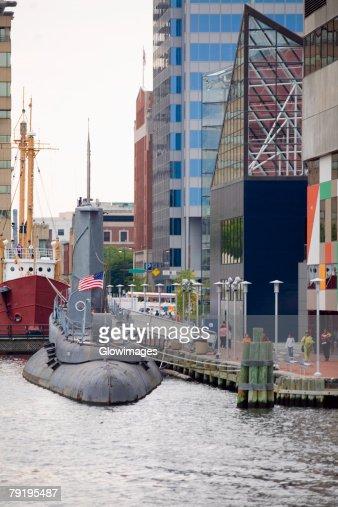 Submarine at a harbor, National Aquarium, Inner Harbor, Baltimore, Maryland, USA : ストックフォト