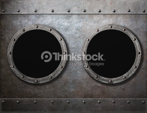 Submarine Or Old Ship Two Portholes Metal Frames Background Stock ...