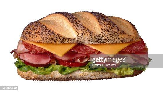 Submarine sandwich on Italian bread