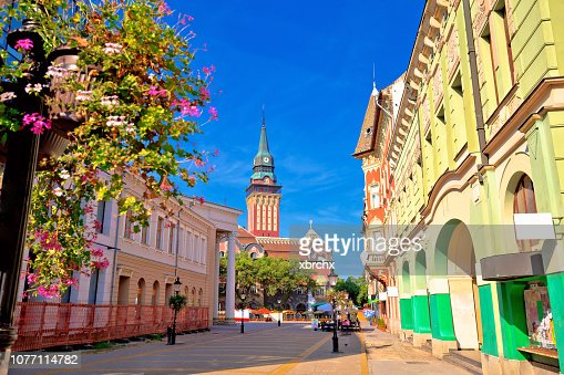 Subotica city hall and main square colorful street view, Vojvodina region of Serbia : Stock Photo