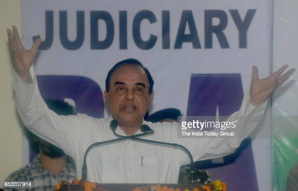 Subramanian Swamy addresses law students about Freedom Of Speech and Expressions at Faculty Of Law at North Campus in New Delhi