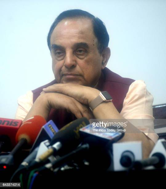 Subramanian Swamy member of the Rajya Sabha during a Press Conference against Congress party in New Delhi