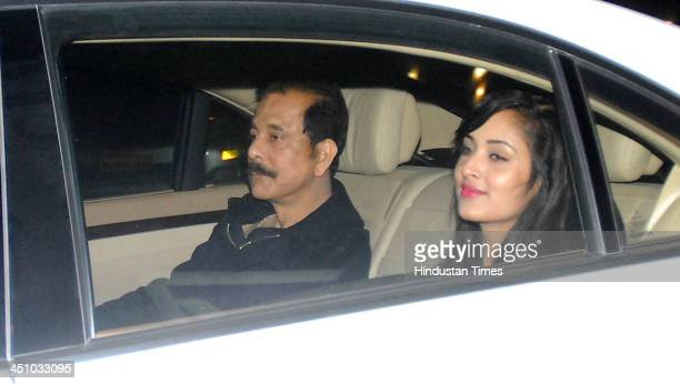 Subrata Roy Sahara Chairman of the Sahara India Pariwar arrives to attend the farewell party of Sachin Tendulkar at Waterstone Hotel Andheri on...
