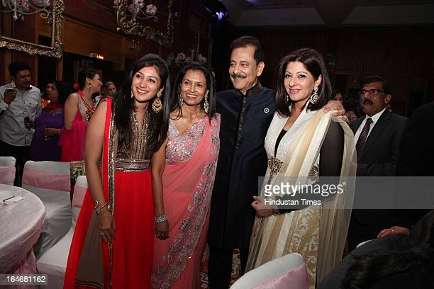 Subrata Roy with his wife Swapna Roy daughterinlaw Richa Roy and Chandani Roy during Annaprashan ceremony of his granddaughter Roshna on March 20...