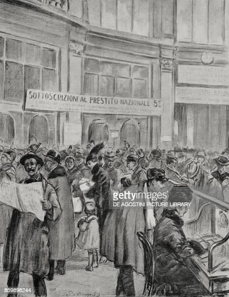 Subscriptions of war bonds at Palazzo del Credito Italiano in Milan Italy World War I drawing by Luigi Bompard from L'Illustrazione Italiana Year...
