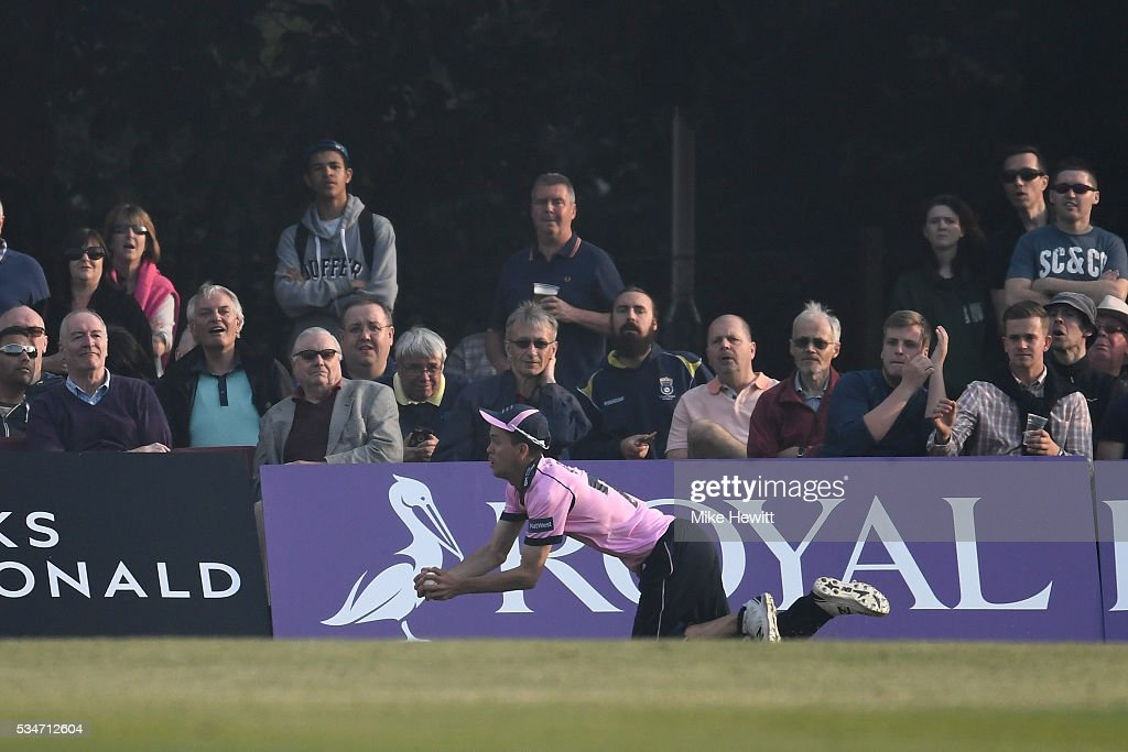 Subsitute fielder Nathan Sowter of Middlesex takes a superb catch in the deep to dismiss James Adams of Hampshire during the NatWest T20 Blast between Middlesex and Hampshire at the Uckfield Sports Ground on May 27, 2016 in Uckfield, England.