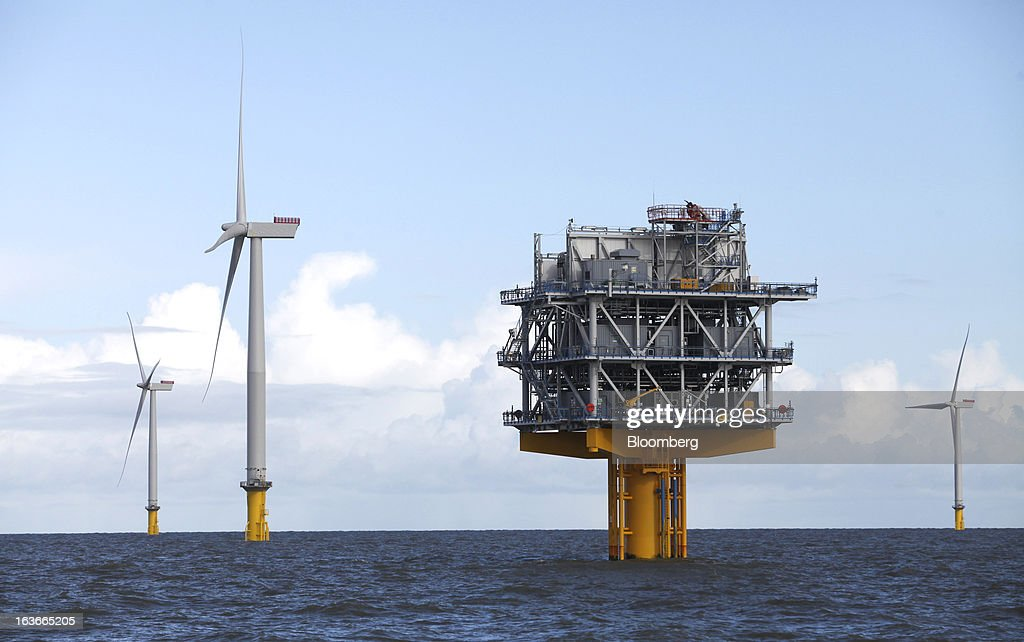 A substation for the London Array project, the world's largest consented wind farm, a partnership between Dong Energy A/S, E.ON AG and Abu Dhabi-based Masdar is seen in the Thames Estuary, U.K., on Wednesday, March 13, 2013. 'London Array will soon be the largest operational offshore wind farm in the world,' said Benj Sykes, head of Dong Energy's U.K. wind business. Photographer: Chris Ratcliffe/Bloomberg via Getty Images
