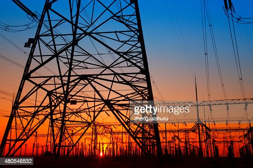 Substation silhouette : Stock Photo