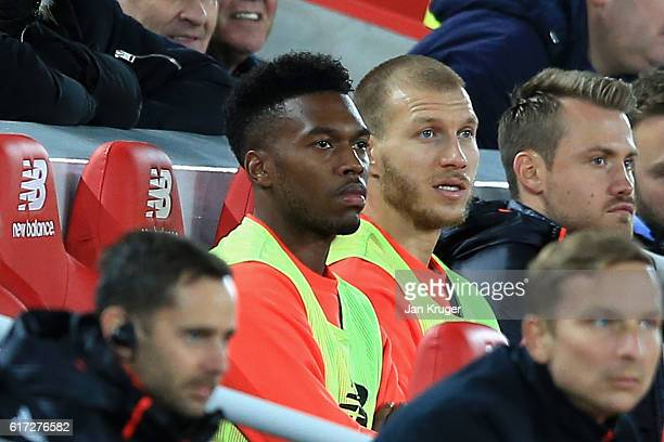 Substitute Daniel Sturridge of Liverpool looks on from the bench during the Premier League match between Liverpool and West Bromwich Albion at...