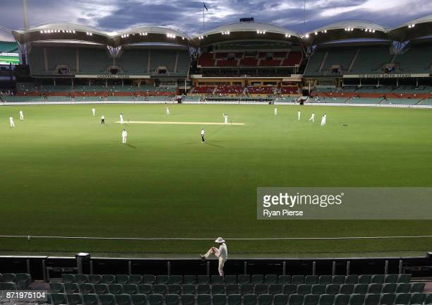 Substitute fielder Ben Foakes of England collects the ball from the stands during day two of the Four Day Tour match between the Cricket Australia XI...