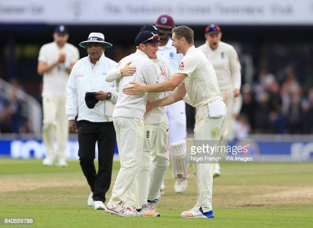 Substitute fielder Mason Crane celebrates after taking the catch of West Indies Roston Chase during day five of the the second Investec Test match at...