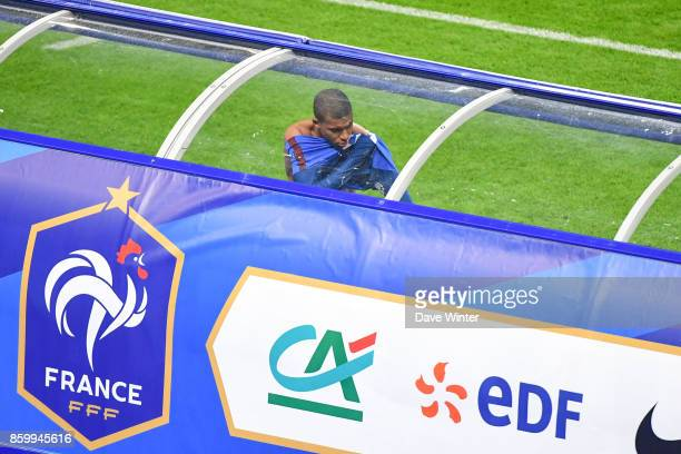 Substitute Kylian Mbappe of France prepares to come on during the Fifa 2018 World Cup qualifying match between France and Belarus on October 10 2017...