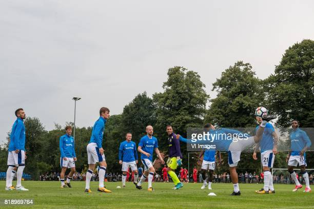 substitute players of Everton FC are doring a rondo with Wayne Rooney of Everton FC and Davy Klaassen of Everton FC during the friendly match between...