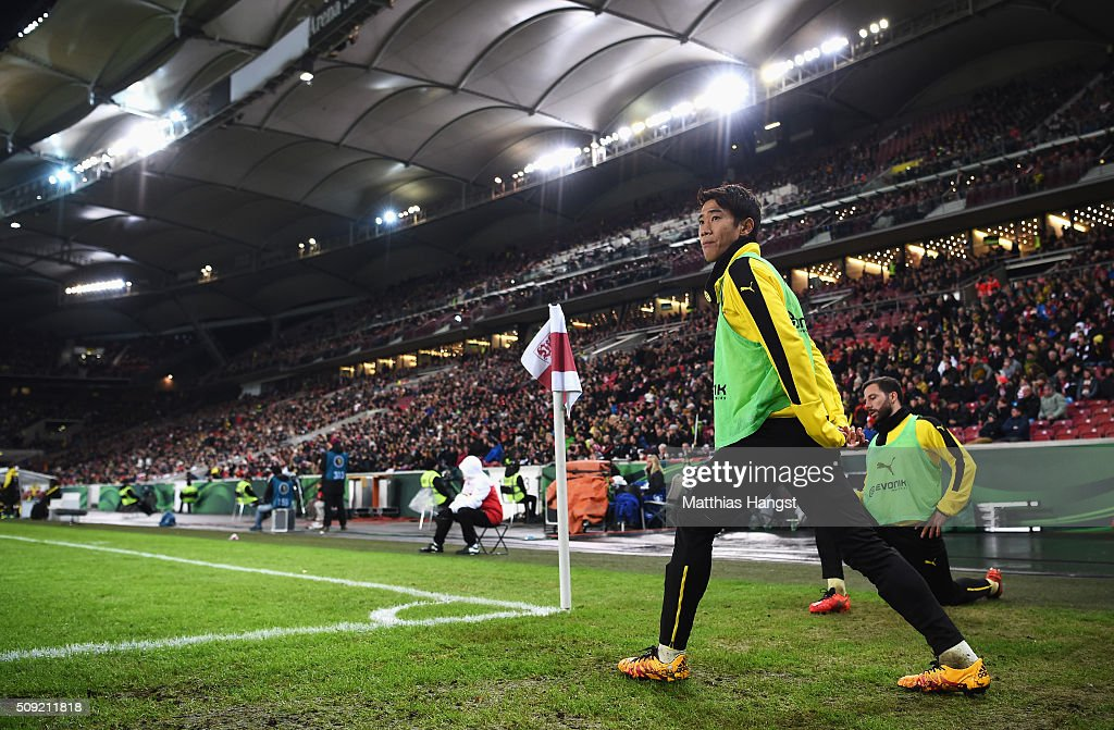 Substitute <a gi-track='captionPersonalityLinkClicked' href=/galleries/search?phrase=Shinji+Kagawa&family=editorial&specificpeople=4314029 ng-click='$event.stopPropagation()'>Shinji Kagawa</a> of Borussia Dortmund warma up during the DFB Cup Quarter Final match between VfB Stuttgart and Borussia Dortmund at Mercedes-Benz Arena on February 9, 2016 in Stuttgart, Germany.