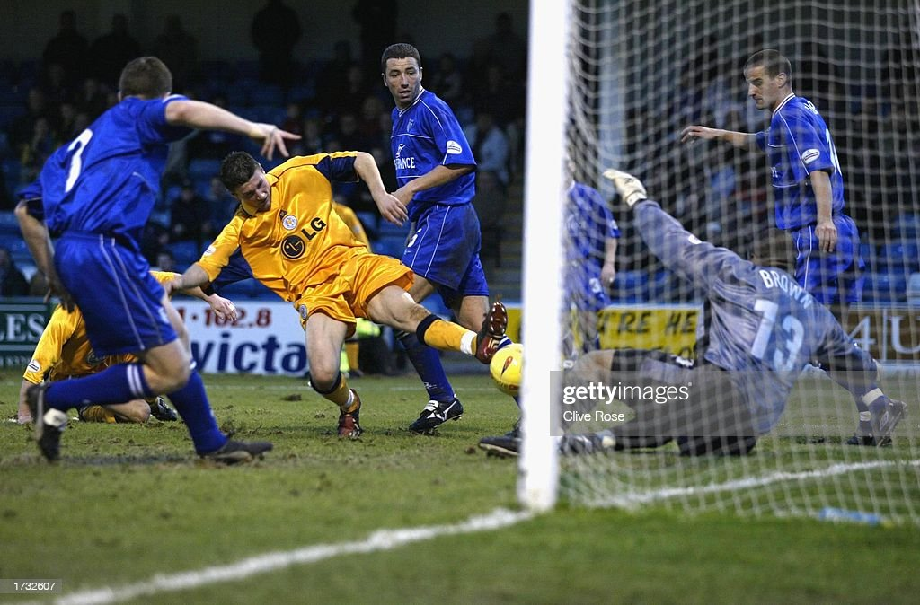Substitute Tom Wright stabs home the equaliser during the Nationwide League Division One match between Gillingham and Leicester City at The Priestfield Stadium in Gillingham, on January 18, 2003 in Gillingham, England. (Photo by Clive Rose/Getty Images).