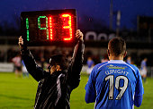 A substitution during the FA Cup First Round match between Eastleigh FC and Lincoln City at Silverlake Stadium in Eastleigh on November 08 2014 in...