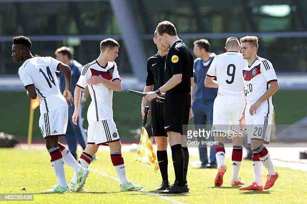 Substitution for Germany Dominik Wanner goes out and Gabriel Kyeremateng goes in during the U16 UEFA Development Tournament match between Germany and...