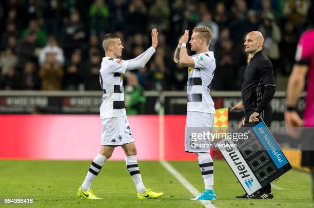 substitution of Andre Hahn for Laszlo Benes of Borussia Moenchengladbach during the Bundesliga Match between Borussia Moenchengladbach and Hertha BSC...