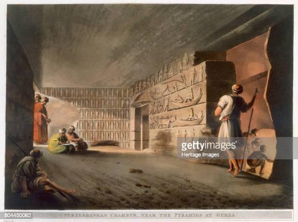 Subterranean Chamber near the Pyramids at Giza' 1802 Plate 9 from Views in Egypt by Luigi Mayer Artist Thomas Milton