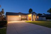 Suburban australian house front at dusk