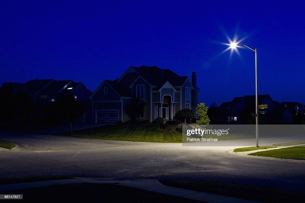 Suburban houses at night