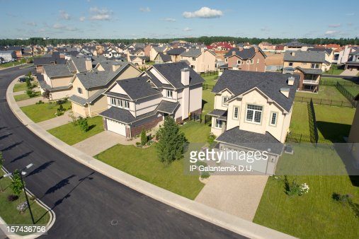 Suburban houses. High angle view.