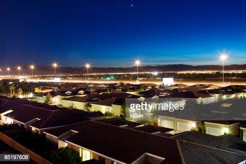 Suburban housing neighbor at night, elevated view : Stock Photo
