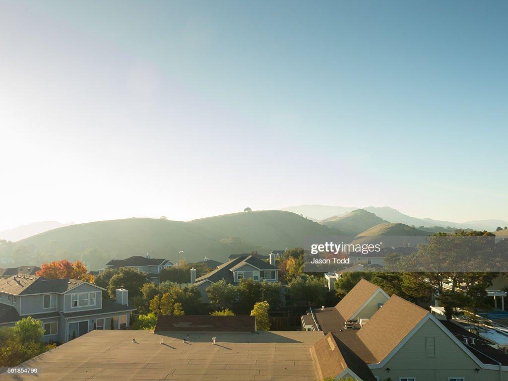 Suburban neighborhood with rolling hills
