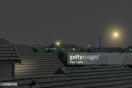 Suburban Rooftops at Night : Stock Photo