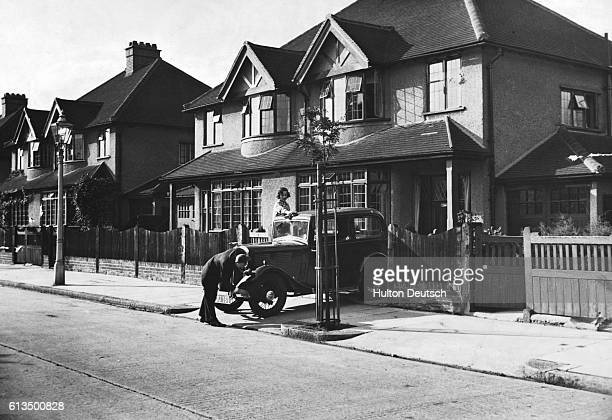 A suburban semidetached British home in the 1930's